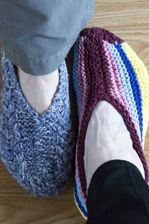 Sundog Retreat: Cosy hand knitted slippers in Fireweed