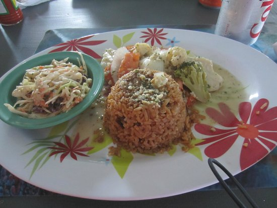 Shirley's at the Fish Fry: Grilled Grouper, Rice and Peas, Slaw