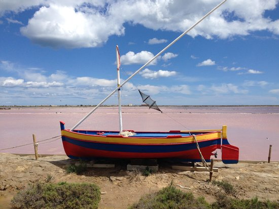 Vin en Vacances - Day Tours: Boat on Pink Salt Flats (where we had lunch)