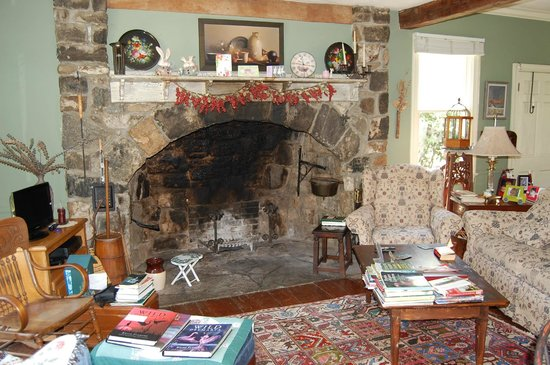 "The Pennsbury Inn: The ""walk-in"" fireplace in the common sitting room"
