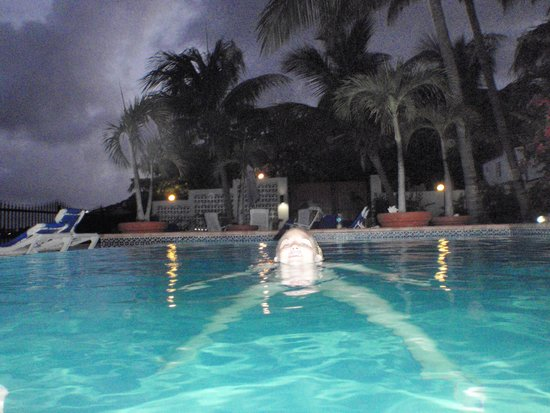 Villas on Great Bay: nighttime swim in the pool.