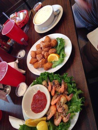 Tony's Seafood Restaurant : Peel & eat shrimp, corn nuggets & chowdaaaa!