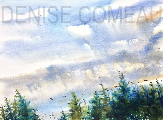 Comeauville, Kanada: watercolour (Blackbirds fly series)