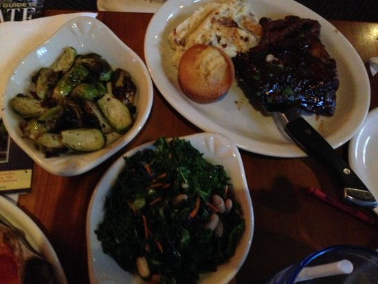 Red Fox Bar & Grille : Steak tips and ribs, with side of brussel sprouts and side of kale