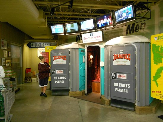 "Jungle Jim's International Market: Award winning bathrooms...what a surprise!  Get your pic taken in their ""outhouse"""