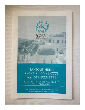 Aegean Restaurant: Take out menu