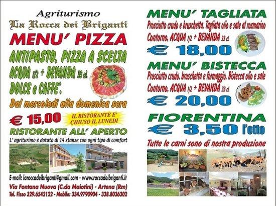 Agriturismo La Rocca dei Briganti: MENù A PORTATA DI PALATO...