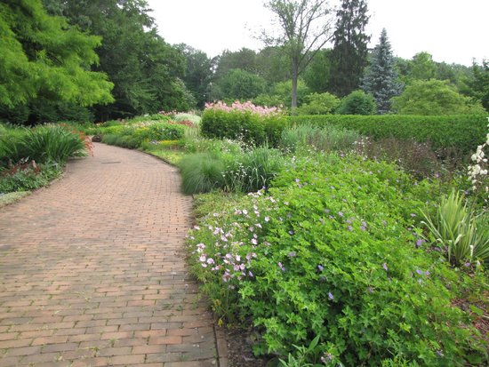 Kingwood Center: A view of the brick walks and flower beds.