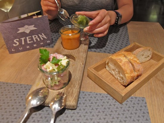 STERN Luzern: Vegetable Gazpacho with Herb Sorbet and Classic Sausage Salad