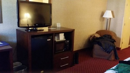 Comfort Inn Pocono Lakes Region: Seating area, TV, microwave and fride
