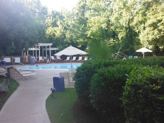 Hampton Inn & Suites Wilmington/Wrightsville Beach: garden area leading to pool