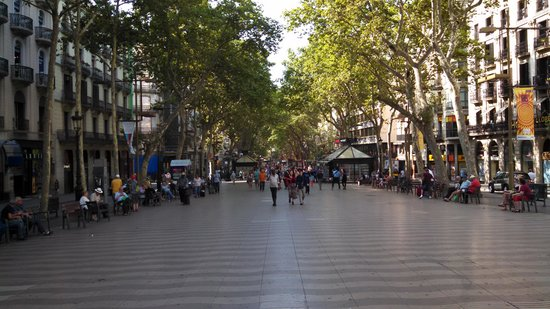 Las Ramblas: La Rambla is usually  very crowded, but caught a brief bit of emptiness.