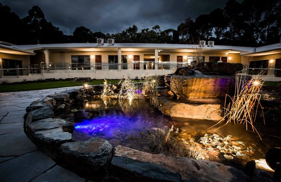 Foothills Conference Centre Pond outside accommodation at night