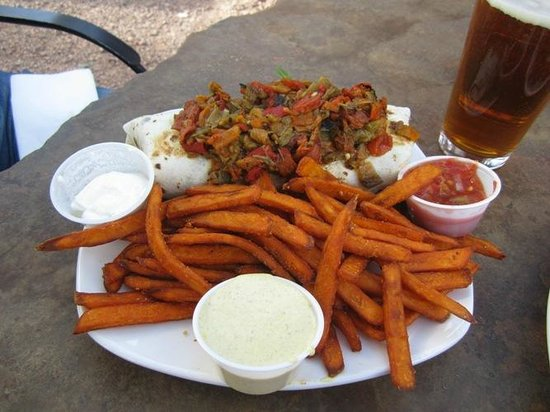 The Hollar: A burrito with sweet potato fries - SO GOOD
