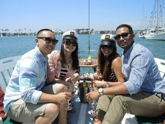 Corks Away Wine Cruises: two couples seated in the front of the boat
