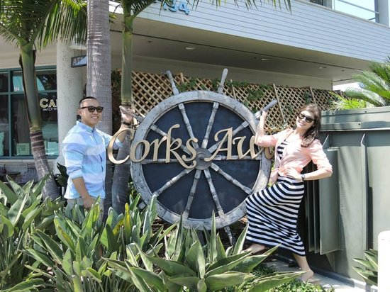 Corks Away Wine Cruises: with the sign out front near CA wine room