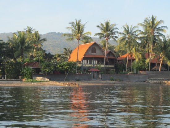 Cleopatra Beach Bungalows : Cleopatra bungalows from the sea.