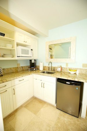 Paradise Palms Bed and Breakfast: Kitchenette fridge, sink, mother of pearl mirror