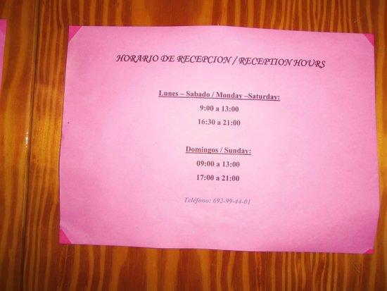 Hostal Las Nieves: time table