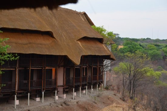Victoria Falls Safari Lodge: rooms built to view water hole