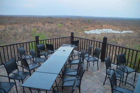 Victoria Falls Safari Lodge: restaurant seats overlooking water hole