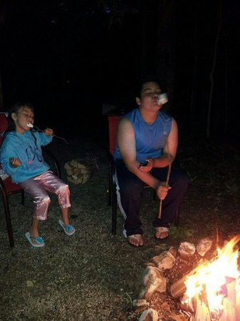 Door County Camping Retreat : Fun by the fire at Rustic Timbers