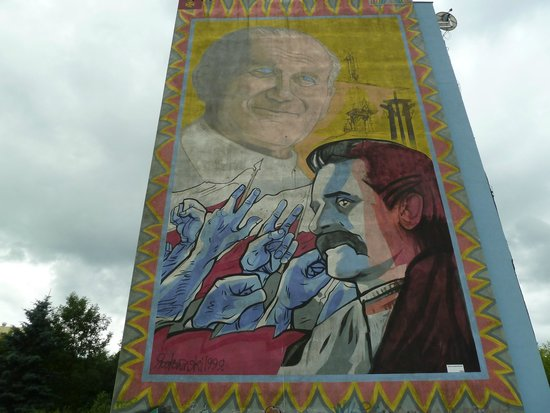 Murale Gdansk Zaspa: The Pope and Walesa