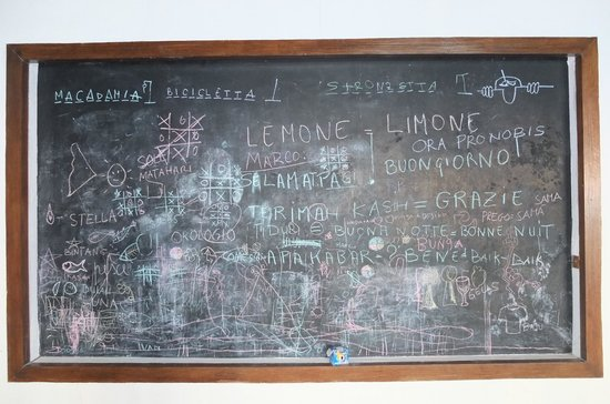 Coral Eye: The Blackboard. Italian, french, english languages well mixed with The Indonesian.