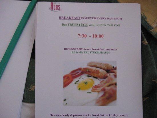 Hotel Atos: misleading breakfast photo.
