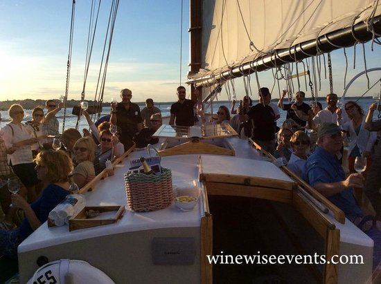 Wine Wise Events: Having a great time on the White Burgundy and Fresh Shucked Oysters Sail!