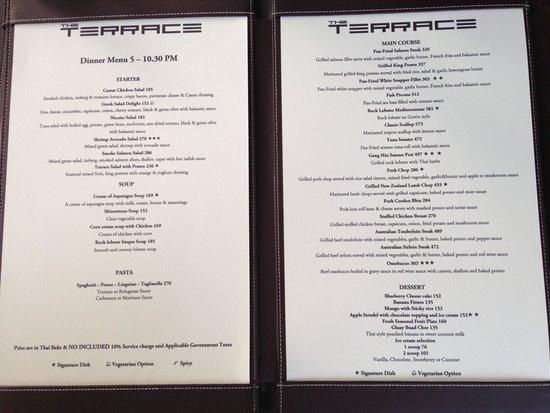 The Passage Samui Villas & Resort : Dinner menu