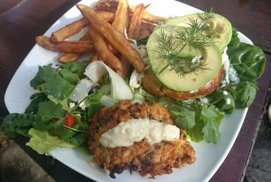 Zucchini Restaurant: Thai Fish burger with the bread replaced with gluten-free fritte! for those carb free days