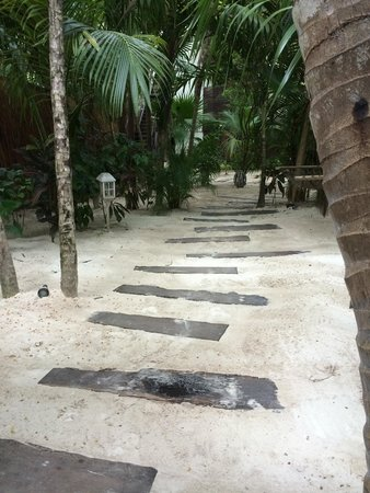 Be Tulum Hotel: The pathway through hotel. No heed for any shoes. I'm serious!! :-)