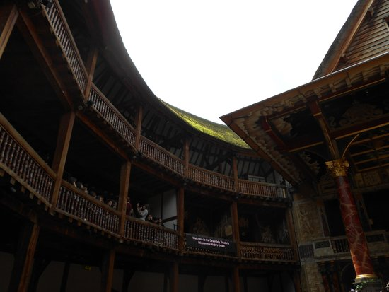 Shakespeare's Globe Theatre: Grass growing on the thatched roof- first one built in London since the 1666 fire