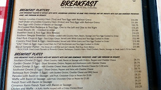 Loveless Cafe Breakfast Menu Prices