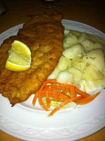Maximillian's restaurant: chicken schnitzel and butter potatoes