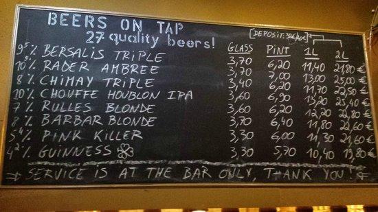 Delirium : Guest beers menu