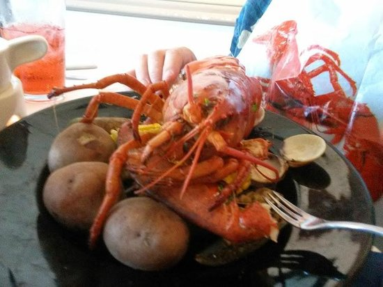Harbor Fish Market and Grille: Lobster Boil, with potatoes, corn on the cob, and clams