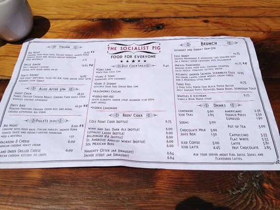 The Socialist Pig: Menu