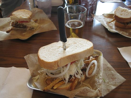 """Primanti Bros.: Open Wide """"Pitts-Burger"""" with onion"""
