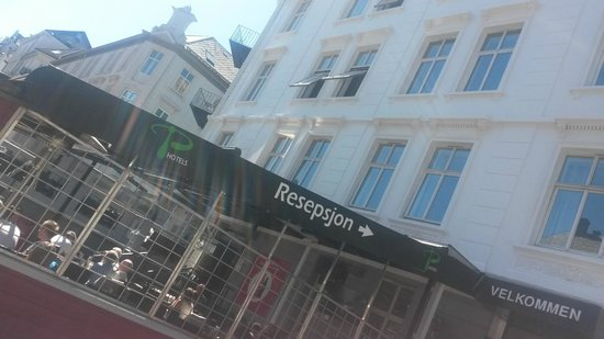 P-Hotels Bergen: My room is on the 2nd floor with the 2 open windows -