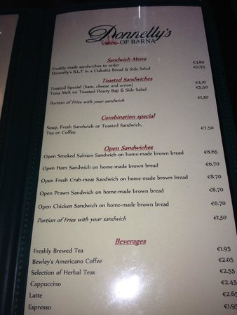Donnellys of Barna: Menu