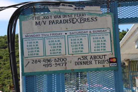 Sugar Mill Hotel: Ferry Schedule