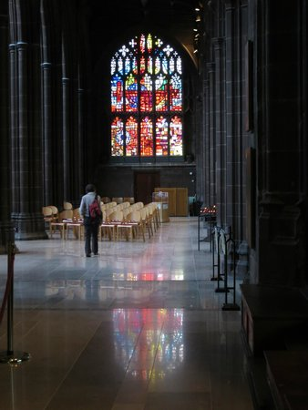Manchester Cathedral: Stained glass reflections