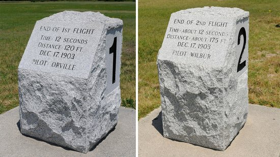 Wright Brothers National Memorial : Marker for 1st and 2nd flight attempts