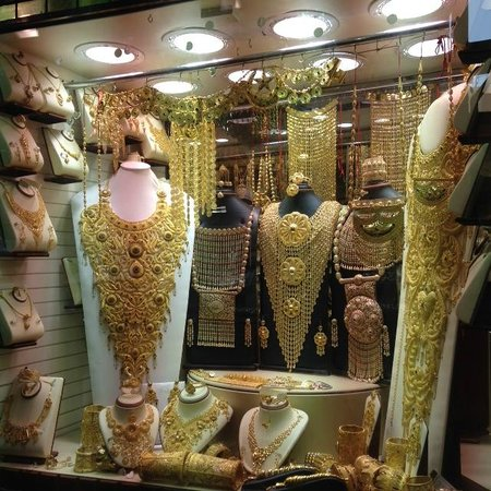 """Gold Souk: Crazy, intricate, decorate """"necklaces"""" that are more like chest plates"""