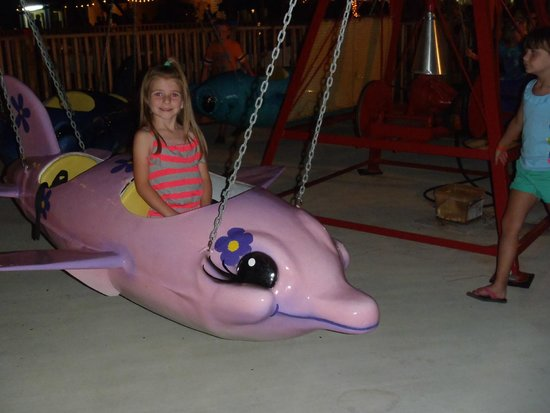 Miracle Strip Amusement Park: Riding the Purple Flying Dolphin....