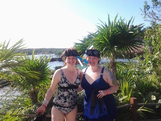 Xel-Ha: lagoon in back ground, me and my buddy!