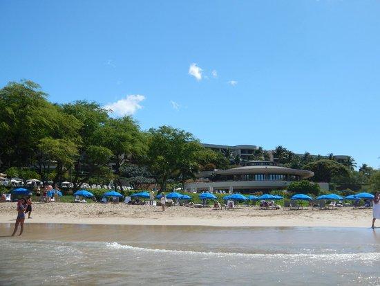 Hapuna Beach Prince Hotel : View from beach toward hotel