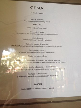 Hotel Riu Guanacaste : Menú: La Toscana. No intenten variarlo, no se puede